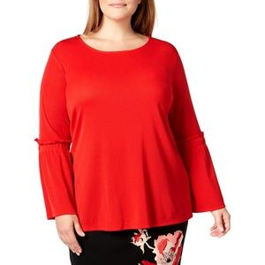 Red casual bell sleeve blouse pullover knit top